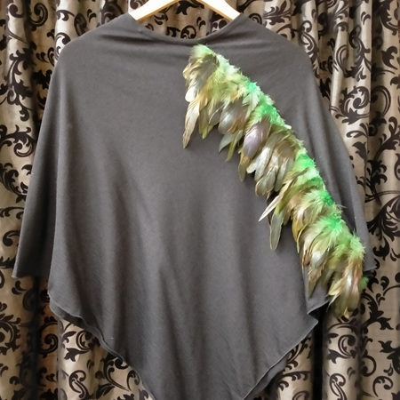 Merino Poncho - Feathered Green