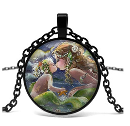 Mermaid Baby Kiss Necklace - Black Chain