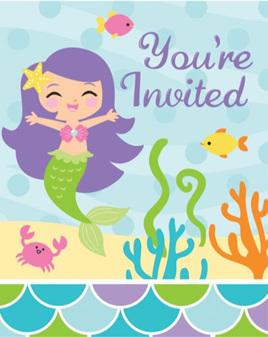 Mermaid invites x 8