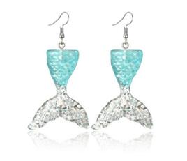 Mermaid Tail Resin Drop Earrings