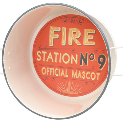 Metal Bucket Fire Station No.9 Pet Bowl