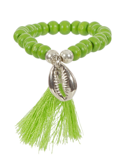 METAL COWRY SHELL & TASSEL TIMBER BRACELET LIME
