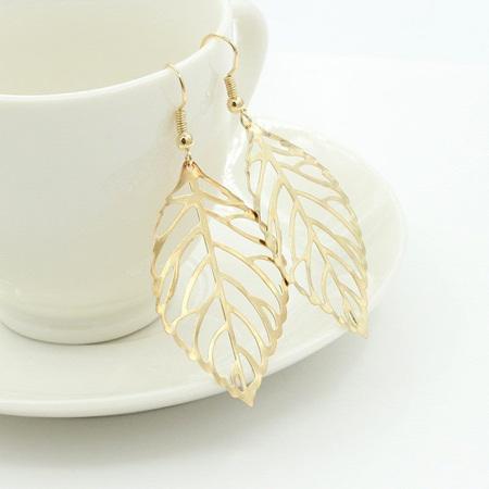Metal Leaves Drop Earrings - Gold Plated
