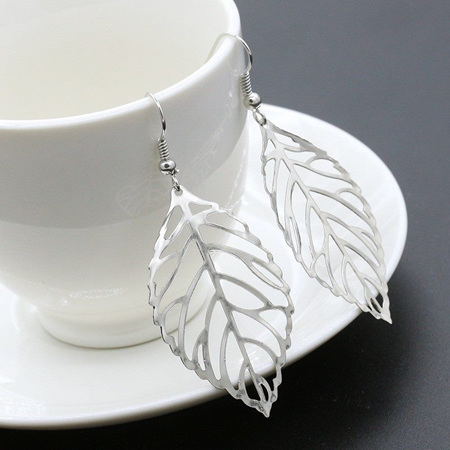 Metal Leaves Drop Earrings - Silver Plated