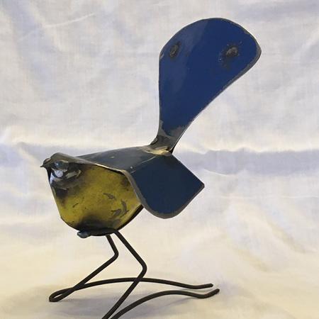 Metal Piwakawaka (Fantail) Blue / Yellow / Orange