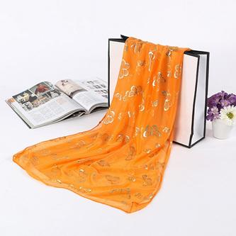 Metallic Butterfly Scarf - Orange
