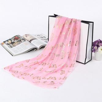 Metallic Butterfly Scarf - Pink