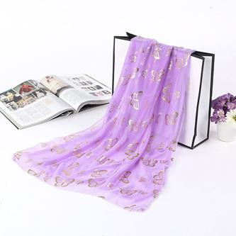 Metallic Butterfly Scarf - Purple
