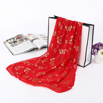 Metallic Butterfly Scarf - Red