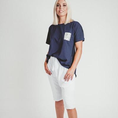 Mi Moso - Emma Tee w Sequin Pocket - Navy