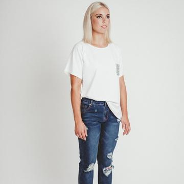Mi Moso - Emma Tee w Sequin Pocket - White