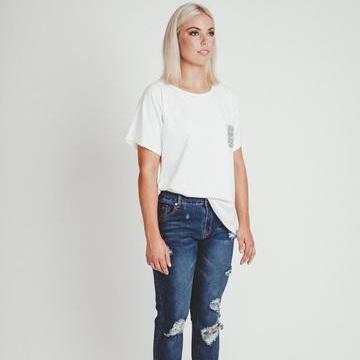 Mi Moso - Emma Tee w Sequin Pocket - White