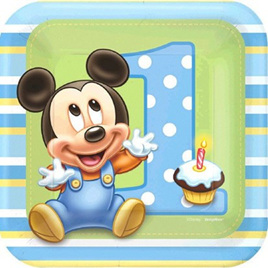Mickey 1st Birthday Party Plates x 8