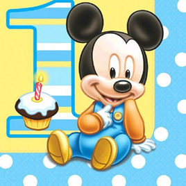 Mickey Mouse 1st Birthday Napkins x 16