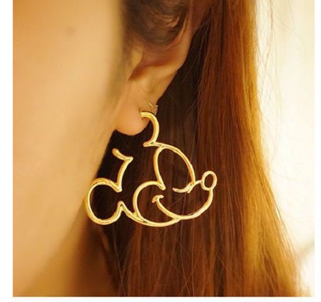 Mickey Mouse Hollow Earrings - Gold