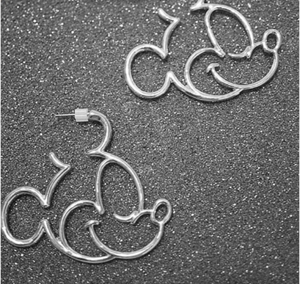 Mickey Mouse Hollow Earrings - Silver