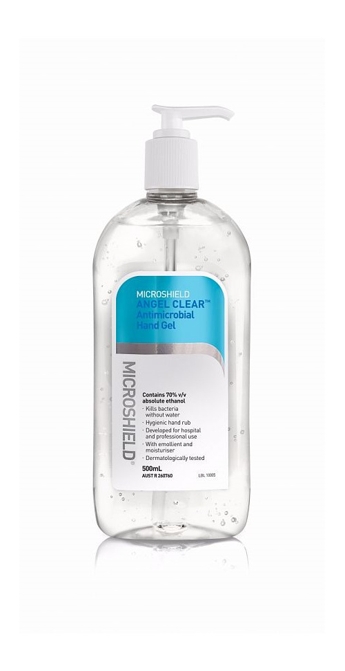 Microshield Angel Clear Antimicrobial Hand Gel 500ml pump 70% ethanol