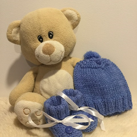 Mid Blue Hat and Bootee Set