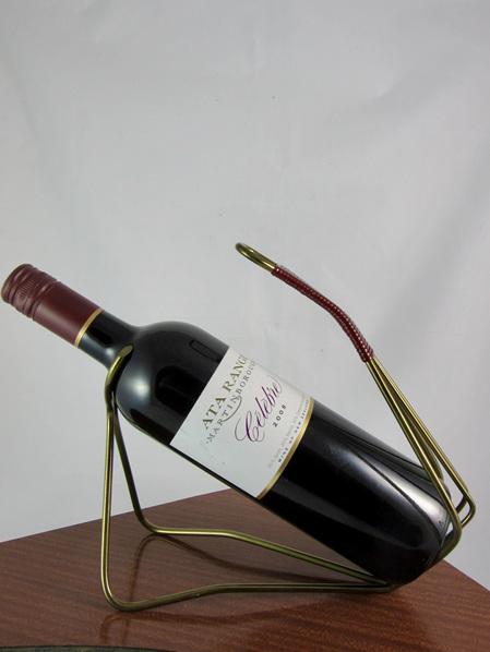 Mid-Century Brass Wine Bottle Holder