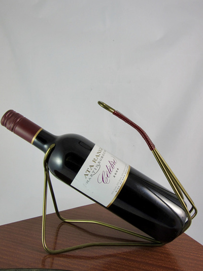 Mid-Century Brass Wine Bottle Holder