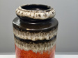 Mid-Century Fat Lava West German Frosty Orange Vase