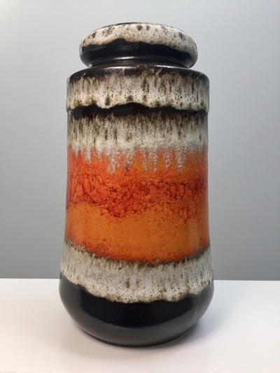 Mid-Century Fat Lava West German Frosty Orange Vase