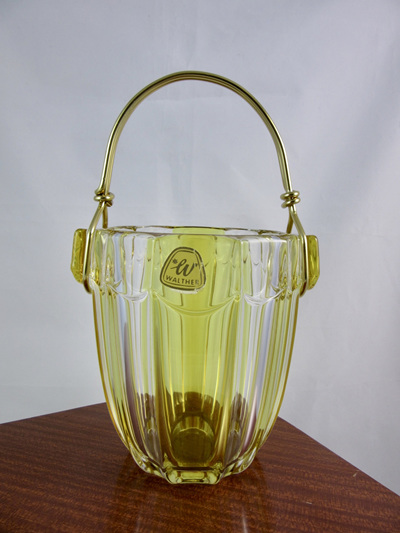 Mid-Century Walther Glass Ice Bucket with Gold Finished Metal Handle