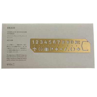 Midori brass number / symbol stencil bookmark