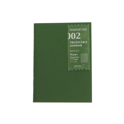 Midori traveler's notebook passport size refill - 002 - grid notebook