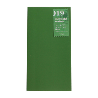 Midori traveler's notebook refill - 019 - free diary - weekly plus notes