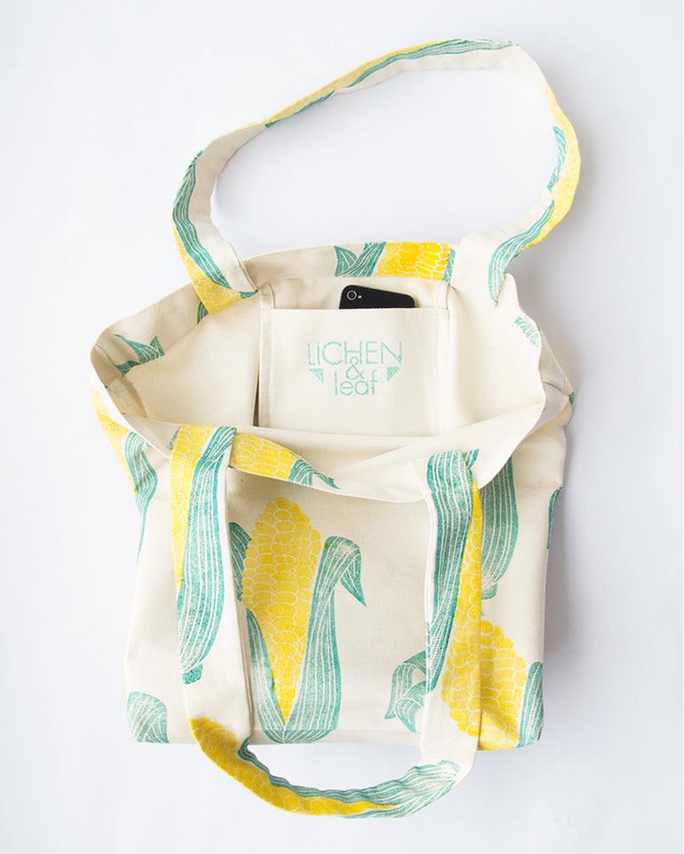 mielie print, corn print, yellow and green, tote bag, handmade, cotton