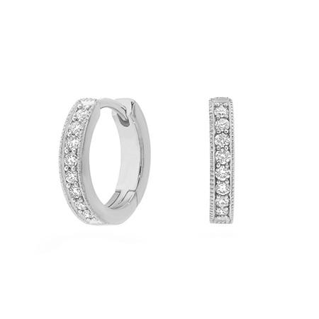 Milgrain Edge Diamond Huggie Earrings