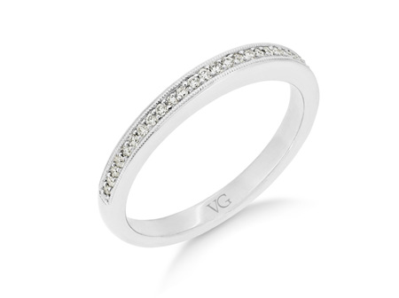 Milgrain Edge Grain Set Diamond Wedding Ring