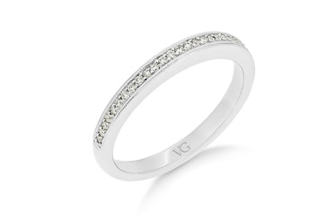 Milgrain Edge Grain Set Diamond Wedding Ring