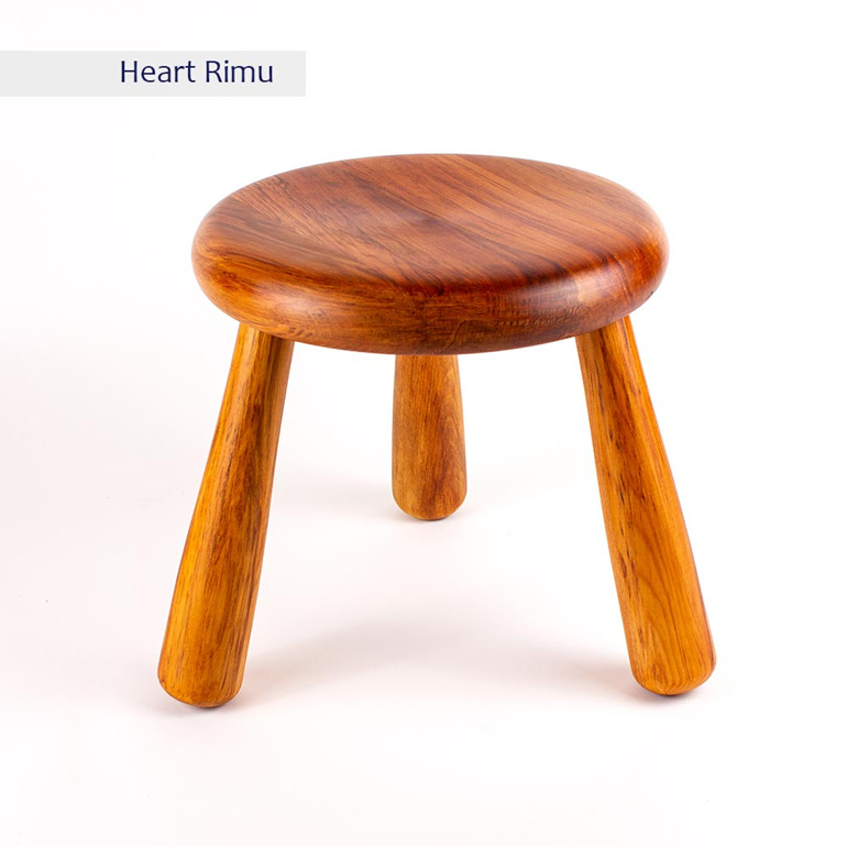 milking stool heart rimu