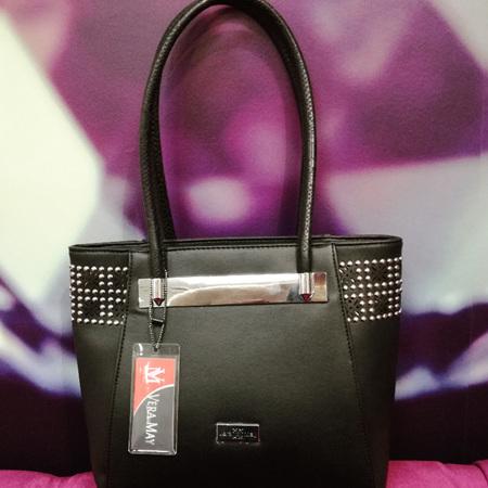 MILLENI PVC HAND BAG BLACK LG