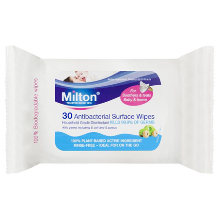 MILTON ANTIBACTERIAL SURFACE WIPES 30PK