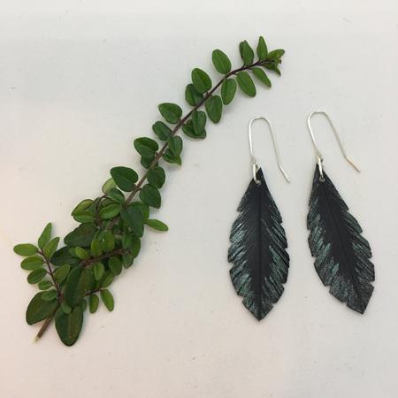 Mini Airlock Earrings with Green Fleck - Sterling Silver Hooks