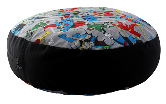 Mini BabyBaby bean bag seat with a super hero print top and bottom