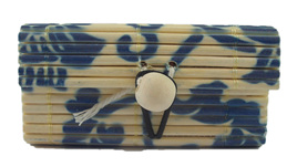 Mini Bamboo Jewellery Box: Blue Flowers