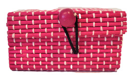Mini Bamboo Jewellery Box: Bright Pink CLEARANCE
