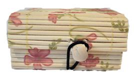 Mini Bamboo Jewellery Box: Pink Flowers CLEARANCE