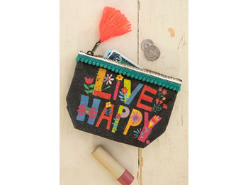 Mini Canvas Pouch-Live Happy
