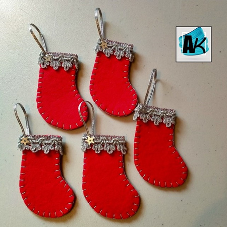 Mini Christmas Stocking Decorations - Red & Silver Set/5