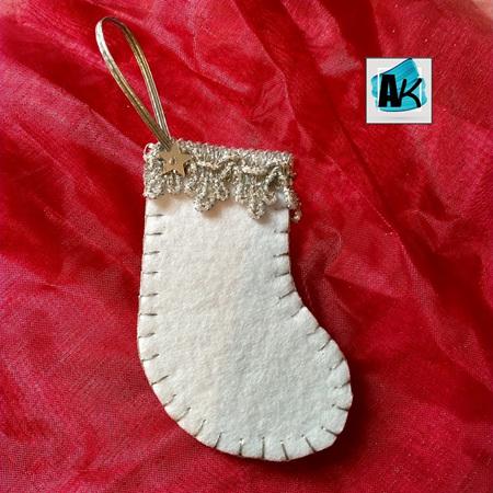 Mini Christmas Stocking Decorations - White  & Silver Set/5