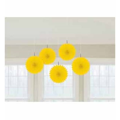 Mini Hanging Fans - Yellow x 5