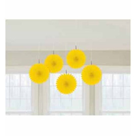 Mini Hanging Fans - Yellow x 5
