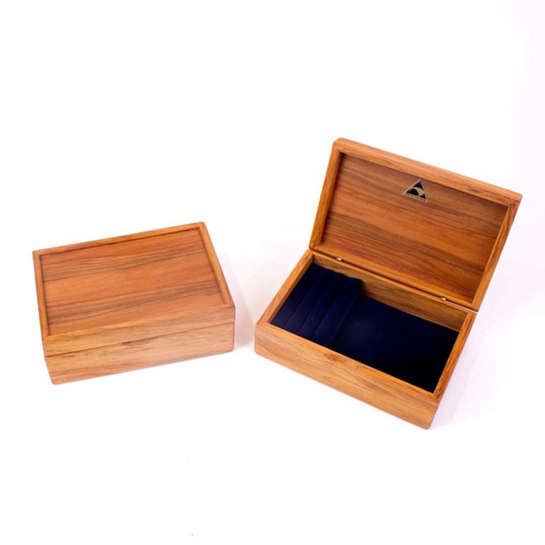 mini jewellery box navy open and closed