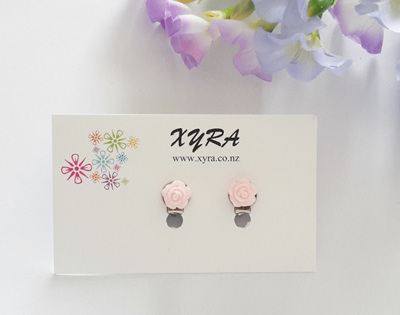 Mini Light Pink Rose Clip-on Earrings