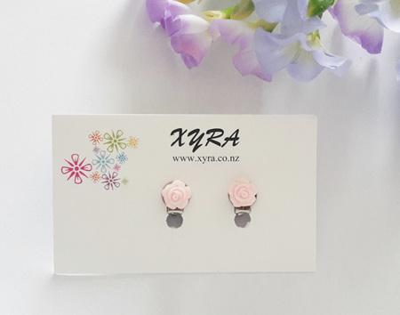 Mini Light Pink Rose Clip-on Earrings